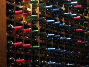 A rack of wine bottles.